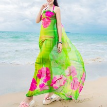 Beach Scarves Hibiscus Print Chiffon Hawaiian Dresses Sexy Women Sarongs Bikini Cover Up Wraps Scarf Hijab