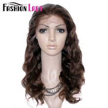FASHION LADY Brazilian Remy Hair Body Wave 16inch Human Hair Lace Wig With Adjustable Band And Baby Hair(China)