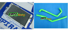 GPI aluminum racing Radiator +GREEN HOSE for Yamaha Raptor YFM 700R YFM700R 2006-2012 2007 2008 2009 2010 2011 06 07 08 09 10(China)