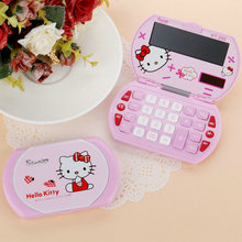 Cute Kawaii Lovely Pink Hello Kitty Mini Portable Function Calculator Solar 12 Digital Display Students Scientific Calculator(China)