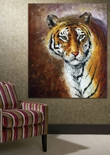 100% Hand-Painted Tiger  Oil Painting on Canvas Mural Art for Living Room Bedroom  Wall Decoration