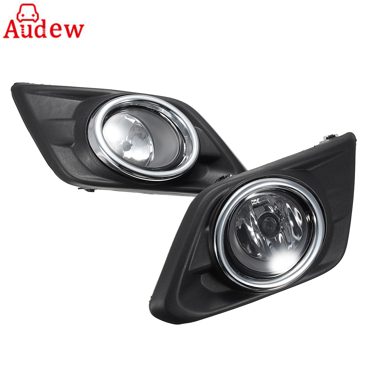 1Pair Chrome Clear Lens Car Fog Light Lamp For Nissan Rogue SUV 14-16 w/Bulbs Switch Bezel Kit<br>