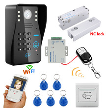 HD 720P Wireless WIFI RFID Password Video Door Phone Doorbell Intercom System Night Vision + Electric Bolt Lock Frameless Glass(China)