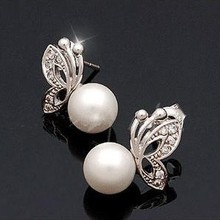 2015 New !!! Hot Fashion Fine Jewelry Wholesale Fresh and sweet Cute Butterfly  Pearl Silver Stud Earrings For Women E-57
