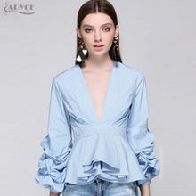 ADYCE 2017 New Style Summer Runway Tops Sexy Blue Black White Ruffles V Neck T shirt&Tops Nightclub wear Women Top Clubwear(China)
