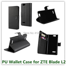 Fashion PU Leather Black Color Folding Stand Pouch Wallet Cover Case for ZTE Blade L2 with ID Card Holder Cellphone Bags Free(China)