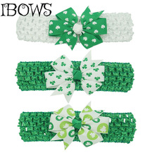 Girls St. Patrick's Day Big Green Shamrocks Knot Hair Bow Crochet Headband Headwrap 3Pcs/lot