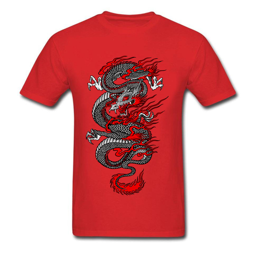 Asian Dragon 100% Cotton Tops T Shirt for Men Printed T-shirts Summer New Coming O-Neck T Shirt Short Sleeve Free Shipping Asian Dragon red