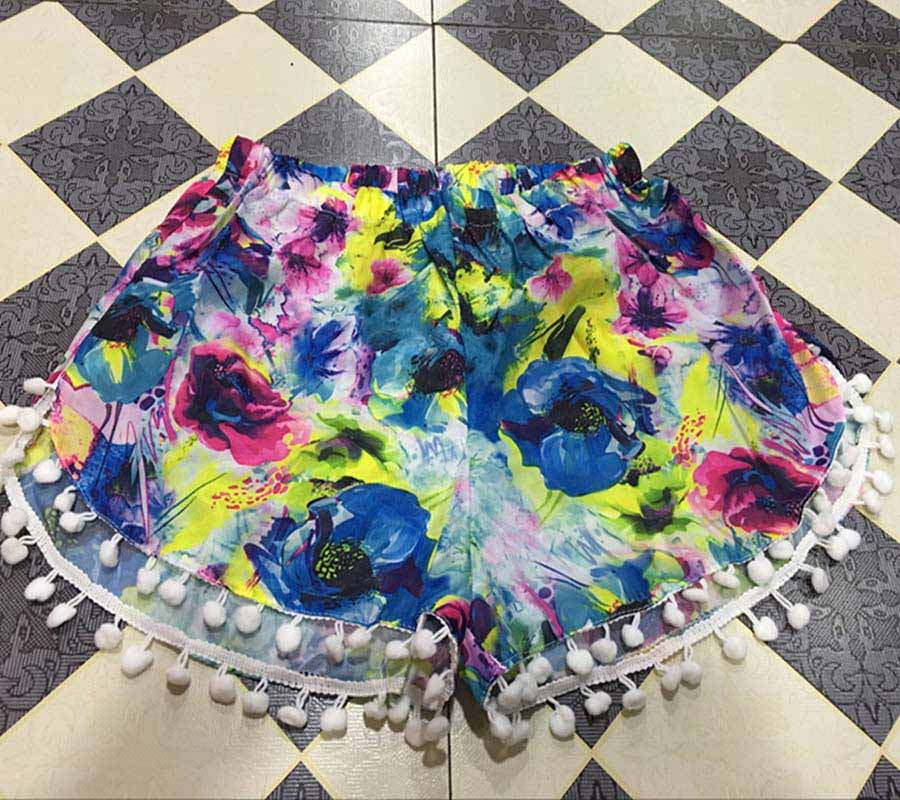 17 Summer Floral Pom Pom Ball Shorts Women Beach Tassel Bohemian National Wind Print Loose Women's Short Feminino Plus Size XL 16