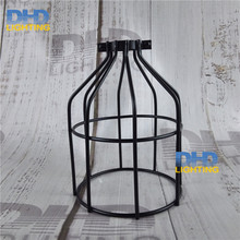 Free shipping D135mm*H190mm E27 lamp shade black finished iron cage edison lamp shade DIY black iron shade for lighting(China)