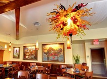 Fancy Restaurant Hotel Decor Multicolor LED Handmade Blown GLass Chandelier light Fixture(China)