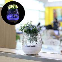 Transparent Flower Pot Bluetooth Playing Music Wireless Speaker Light(China)