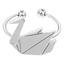 Kinitial New Arrival 1Pcs Adjustable Gold Silver Origami Swan Rings Duck Rig For Women Statement Finger Round Ring Jewelry(China)