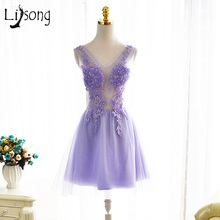 Short Lavender Cocktail Dresses Cheap Free Shipping Vestido De Festa A line Cocktail Dress Rob De Soirre Applique Cocktail Gown(China)