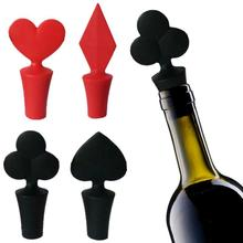 1 PCS Mini Novelty Poker Wine Stopper Heart Shape Fun Wine Bottle Plug Gifts Glass Decor Bar Tools Red and Black L50