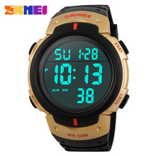 SKMEI 1068 Men Digital Wristwatches Chronograph 50M Waterproof PU Strap Clocks Relogio Masculino Fashion Outdoor Sports Watches(China)