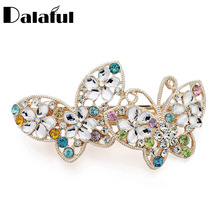Dalaful Elegant Butterfly Multicolor Crystal Flower Hairclip Barrettes Hairpin Girls Hair Accessories for Women F149(China)