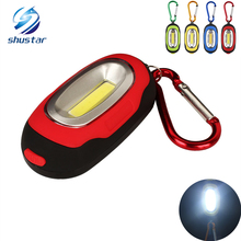 COB LED Flashlight Key Chain Light 3-Mode Mini Chain Ring Keychain PVC Lamp Torch Keyring Green/Red/Yellow/Blue easy to carry(China)