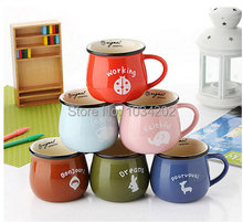 108pcs/lot zakka enamel mug Cookies candy color zakka ceramic cup milk coffee mug 8*7cm Free shipping(China)