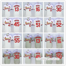 Men 13 Matt Carpenter 16 Kolten Wong 30 Orlando Cepeda 45 Bob Gibson #50 Adam Wainwright Man white blue gray Jersey