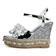 2017 Silver Women Wedges Crystal Pumps 10 cm High heels Straw Soles Genuine leather Shoes Sexy Platform Sandals Box Packing 1925(China)