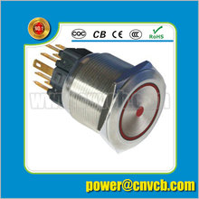 2505Z 25mm Ring lamp brass doorbell 24VDC red led latching metal push button switch(China)