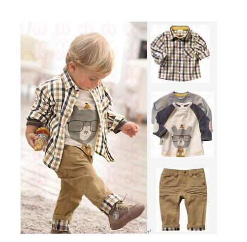 2015 Kids Clothes Sets Sets Conjunto De Roupa Retail Boy Spring And Autumn Three-piece (shirt + T-shirt Pants) Free Delivery<br>