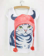 Cats Prints Tees devil head hat cat t shirt woman red hat clothing for women 2015 summer short sleeve  tshirt