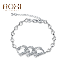 ROXI Brand Fashion Summer Style Romantic Bracelet Femme White Gold Color Women Wedding Crystal Bracelets Pulseras Fine Jewelry