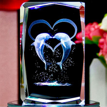 Transparent 3D Laser Crystal  Insiding Carving Cube Crafts Animal Dolphin  Glass Paperweight Christmas Gifts Wedding Souvenirs