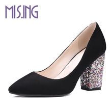 Women Slingbacks high heels women shoes fashion Bling heel Elegant pumps Spring/Autumn Square heel office ladies work pumps