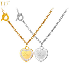 U7 Hot Rolo Toggle Chain Heart Necklaces For Women Gold Color Stainless Steel Trendy Party Necklace For Love Jewelry N577(China)