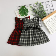 Girls Kids Bow Ruffles Plaid Vest Dress Sweet Kids Party Autumn Western Fashion  Red and Black Color Dress bc375ec7a61d