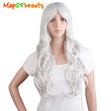 "MapofBeauty 24"" Long Curly cosplay Wigs white black brown blonde wig 13 colors Synthetic Hair for Women Heat Resistant Fake Hair(China)"