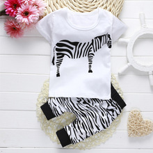 Summer kids boys Autumn clothes baby clothing sets Newborn Baby Girl Boy short Sleeve T shirt+ zebra Pant 3pcs Outfits Set DS15