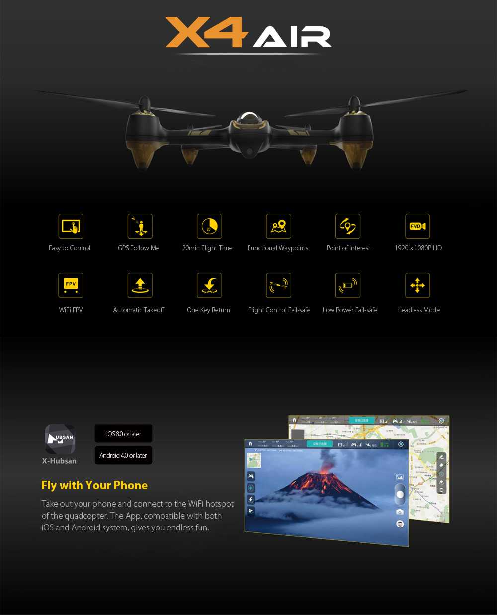 HUBSAN X4 AIR H501A RC Drone Dron WiFi FPV 1080P HD Brushless Quadcopters with light Point Of Interest Drones GPS Follow Me Mode