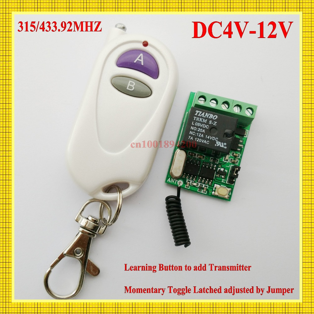 DC4V 4.5V 5V 6V 7.4V 9V 12V 10A Mini Relay Remote Switch Radio Receiver Transmitter Rfid Door Access Remote Switch Button Remote<br><br>Aliexpress