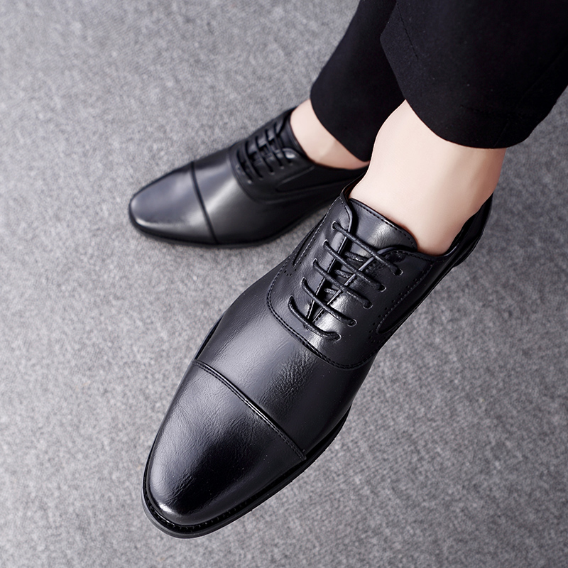 men spring working shoes luxury brand italian eurpean style pointed toe elegant male footwear dress working oxford shoes for men (13)