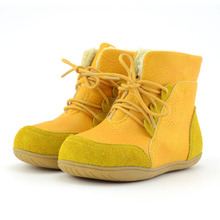 New Boys Girls Winter Boots Suede Leather Toddler Baby Snow Boots Thick Soft School Shoes Lace-up Shorts Flat Botas Size22-33(China)