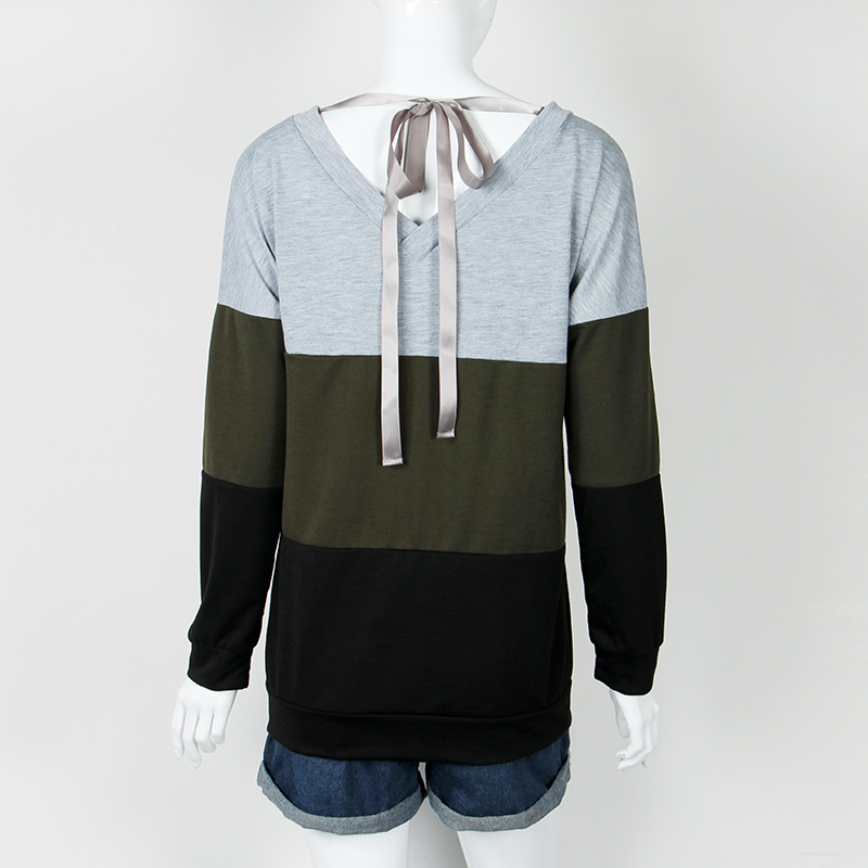 Sweatshirt, Women's Sweatshirt Patchwork Pullover 14