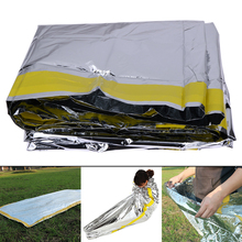 Silver Foil Sleeping Bag Life Saving Mat Emergency Rescue Insulation Blanket for Outdoor Camping Travel Survival 200*100CM(China)