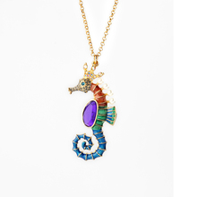 2016 Fashion Trend Colorful Sea Horse Pendant Long Sweater Chain Necklace Gifts for Women