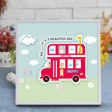 NEW Cartoon Bus Puzzle Crystal Diamond Mosaic Sticker Painting 3D Children Handmade Educational DIY Toys 20*20CM NT056