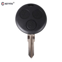 KEYYOU Replacement For Mercedes Benz SMART Fortwo Cas 3 Button Uncut Blank Blade Remote Key Shell Fob Replace Free Shipping(China)