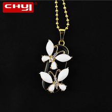 CHYI Personalized Crystal Butterfly Pendant USB Flash Drive Pen Driver 8GB 16GB 32GB 64GB Pendrive Valentine Gift Memory Stick(China)