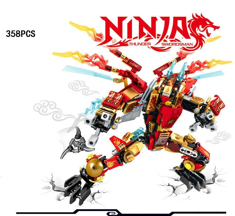 2017 Phantom Ninja double wings Hellfire dragon mech go building block model Kai swordsman figures bricks toys for boys gifts<br>
