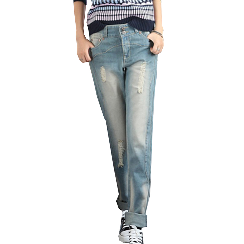Fashion Mid Waist Straight Pants Vintage Washed Bleached Jeans Street Style Ripped Denim Pantalones Loose S-XL Women TrousersОдежда и ак�е��уары<br><br><br>Aliexpress