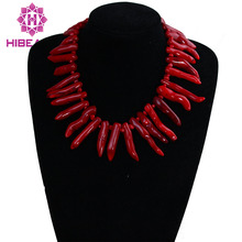 10*40mm Natural Red Coral Necklace 17Inch Rare Irregular Coral Jewelry Free Shipping CRN0018