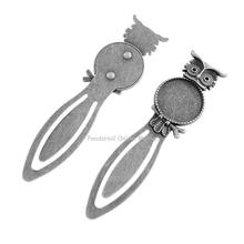 Owl Vintage Tibetan Style Alloy Bookmarks Cabochon Settings, Lead Free & Cadmium Free, Antique Silver, Flat Round Tray: 20mm;