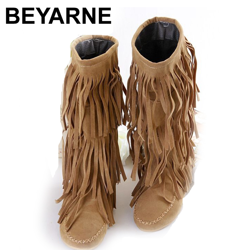 Womens 3 Layer Fringe Tassels Flat Heel Boots Decoration Mid-Calf Slouch Shoes 4 Sizes free shipping<br><br>Aliexpress